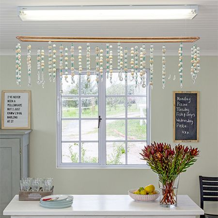Here's how to turn an ordinary fluorescent lighting fitting into an eye-catching feature using affordable materials.