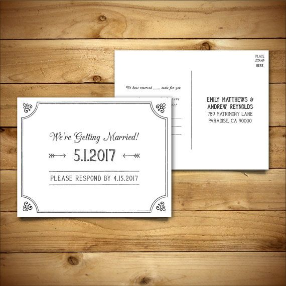 30 best Wedding RSVP Templates images on Pinterest Wedding rsvp - postcard template word