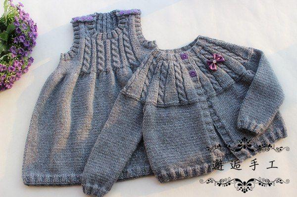 """Delicadezas en crochet Gabriela: Saquito y vestido niña en dos agujas para ver patrones dar clic """"Web"""""""