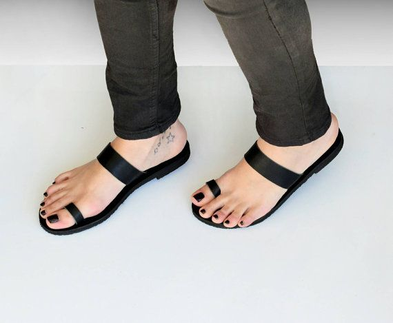 Sandals Black leather sandals Toe ring sandals Greek by SAVOPOULOS