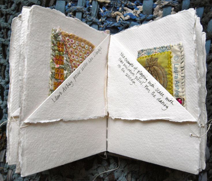 Book of Secrets: Tiny fabric quilted collages using Laura Ashley fabrics in a sample book, bound with coptic stitch