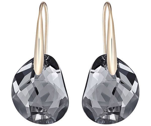 R1090 - This pair of rose gold-plated pierced earrings shines elegantly in black crystal. They are ideal for adding a trendy touch to any everyday outfit.... Shop now