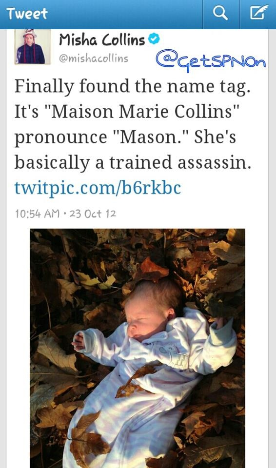 Misha Collins finally gives Baby Girl Collins a name! Maison Marie Collins ♥  #SPNFamily #SPNFans
