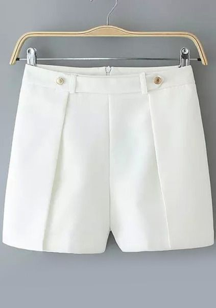 Back Zipper Slim White Shorts