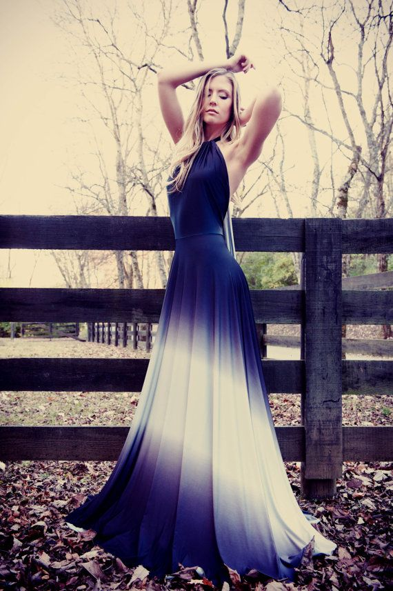 Ombre satin gown handmade
