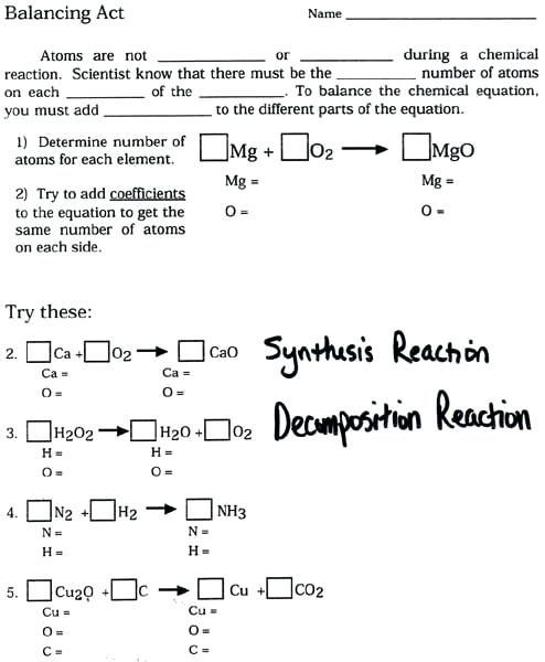 Balancing Chemical Equations Practice Worksheet Answer Key In 2020