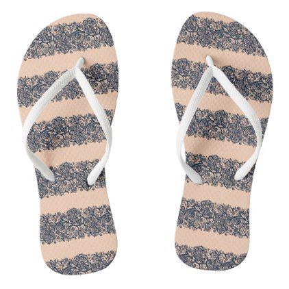 Lace stripe flip flops - lace gifts style diy unique special ideas