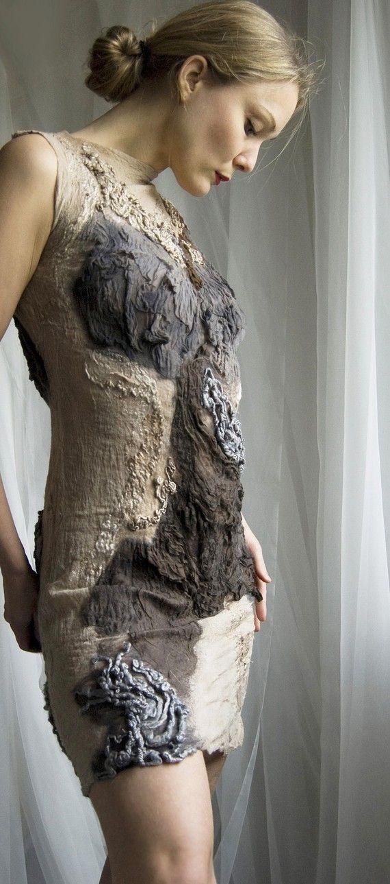 Nuno felted eco chic dress Tresor OOAK by vilte