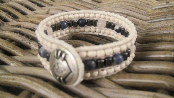 Energy bracelet, meditation, inner self, heart chakra hematite, sodalite, rose quartz, wood, leather, MADE-TO-ORDER
