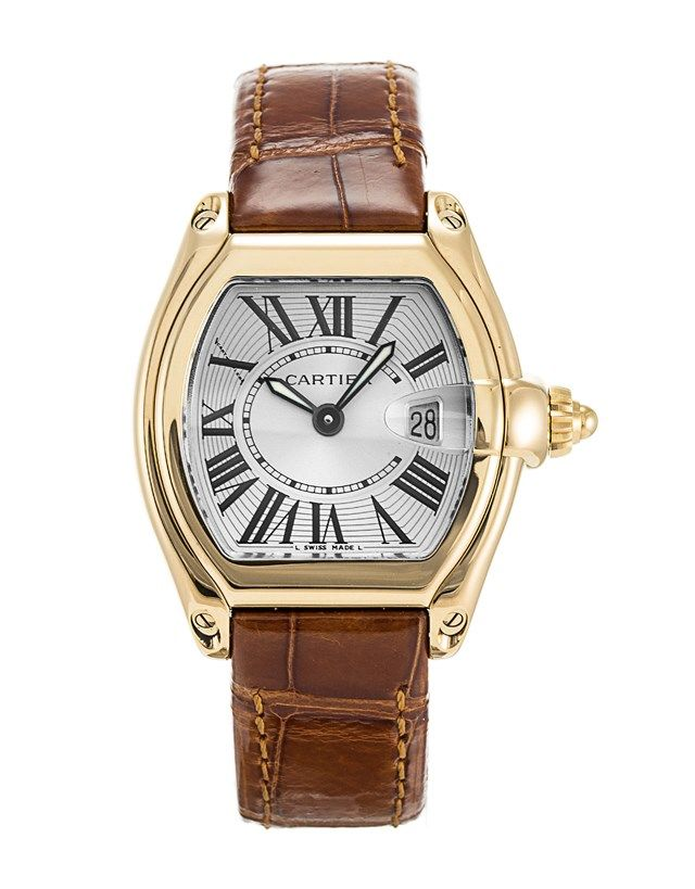 This is a pre-owned Cartier Roadster W62018Y5. It has a 31mm Yellow Gold case, a Silver Roman Numeral dial, a Crocodile - Brown bracelet, and is powered by a Quartz movement.