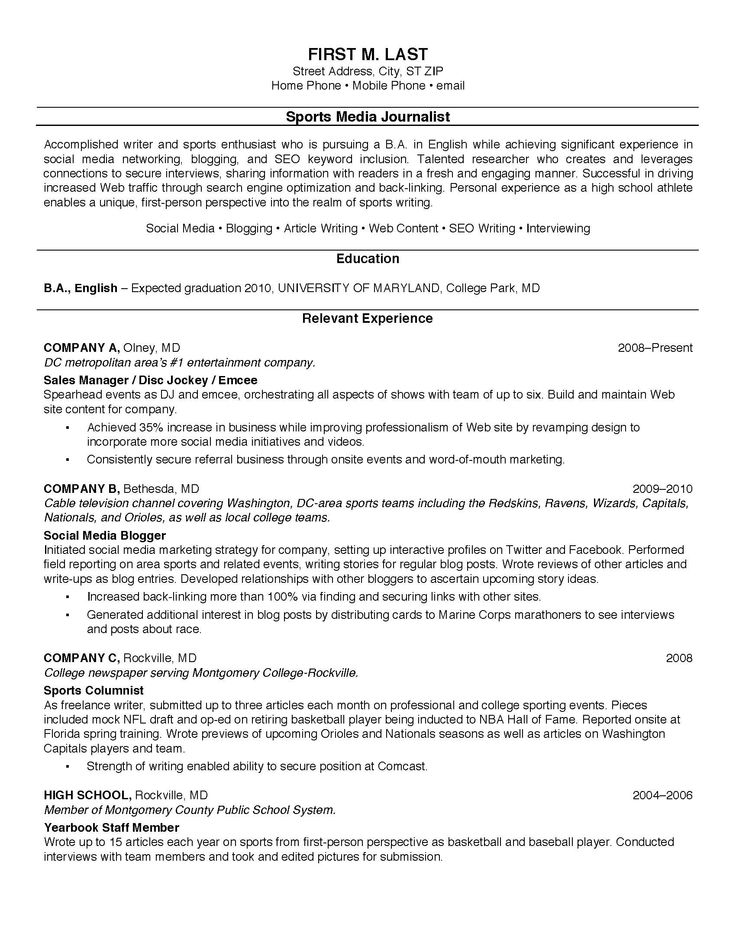 39 Best Resume Example Images On Pinterest Resume Templates