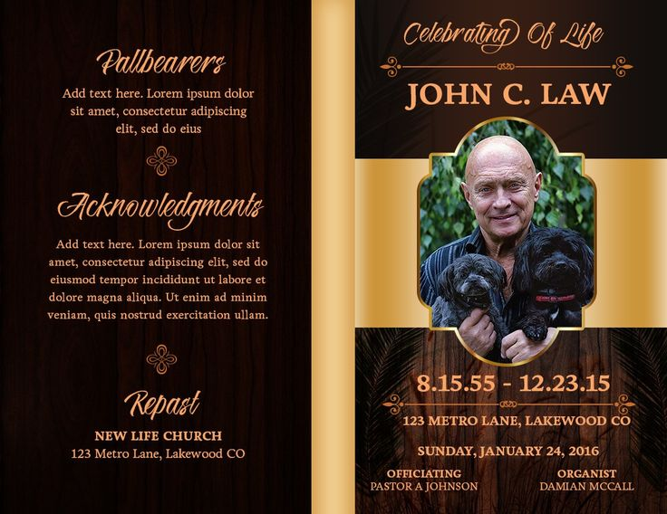 Best 7 Free obituary templates images on Pinterest Church