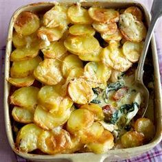 Chicken Tartiflette - Chicken, potatoes, cream, spinach, onions, bacon.