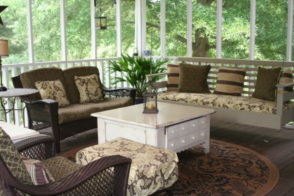decorating screened porches | screened porch, Screened porch with swinging bed. We use this porch ...
