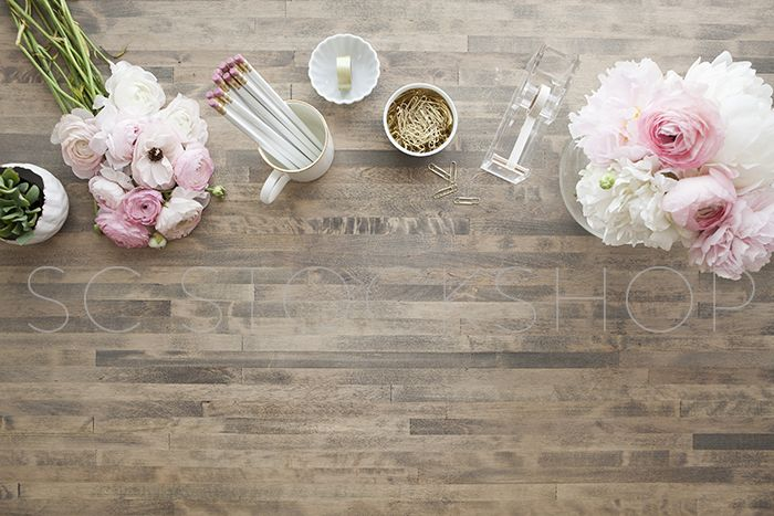 Styled desktop stock images by Shay Cochrane for creatives and small business owners.  www.shaycochrane.com  Office, desktop,wood, pink, florals, desk accessories