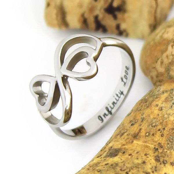 Lovers Ring Infinity Ring Double Heart Promise Ring Couples Ring
