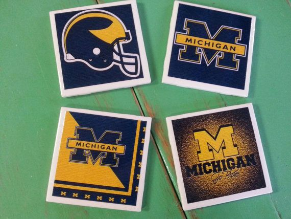 Check out this item in my Etsy shop https://www.etsy.com/listing/241022371/michigan-wolverines-ceramic-coasters-set