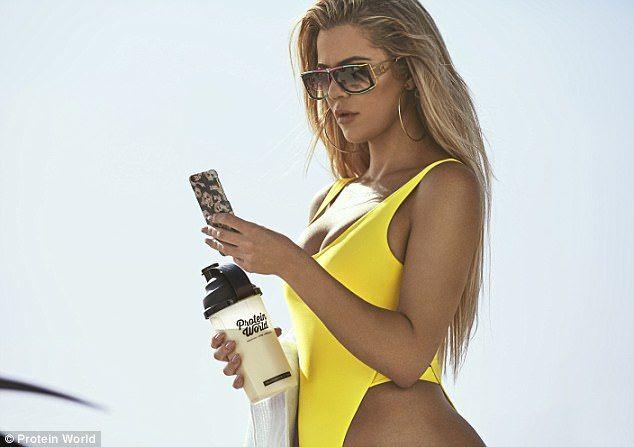 Khloe Kardashian wears daring swimsuit to promote protein shakes  #dailymail
