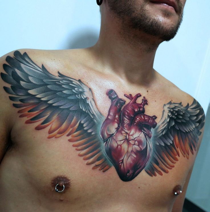 Heart & Wings on Guy's Chest http://tattooideas247.com/heart-wings-on-guys-chest/