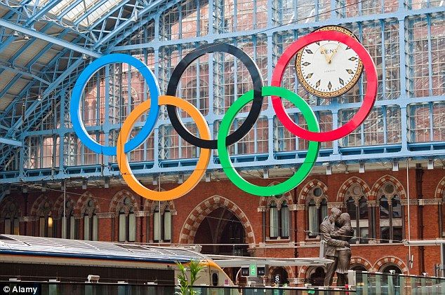 Passengers arriving by Eurostar are greeted by this display of Olympic Rings at St Pancras