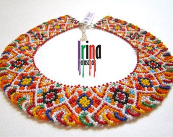 Ukrainian traditional necklace. Beaded collar. by IrinaHaluschak