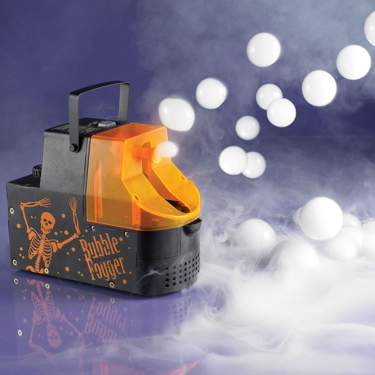 OH HELLO something I need for my next Halloween party! This lil' machine blows out fog-filled bubbles WHAAAAT love it, how fun for a DIY haunted house.