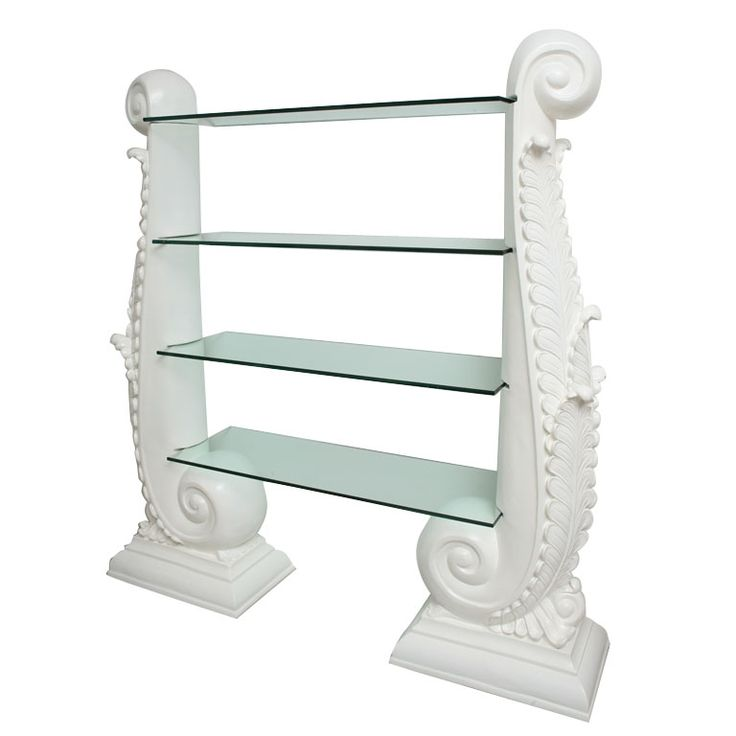 Hollywood Regency White Lacquer  Etegere