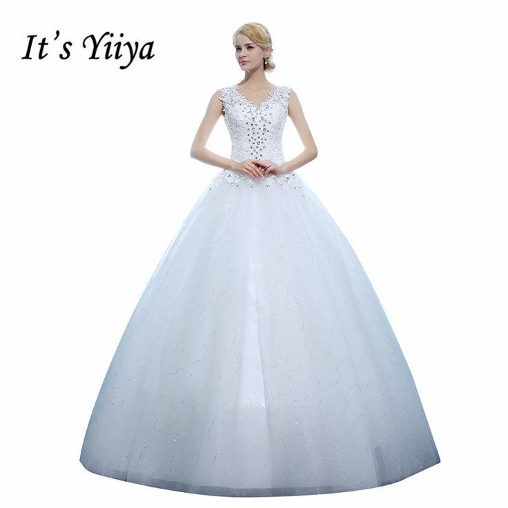 It's Yiiya Cheap White Princess Wedding Frocks Vestidos De Novia V-neck Bling Wedding Dresses Bride Frocks XXN129 #Affiliate