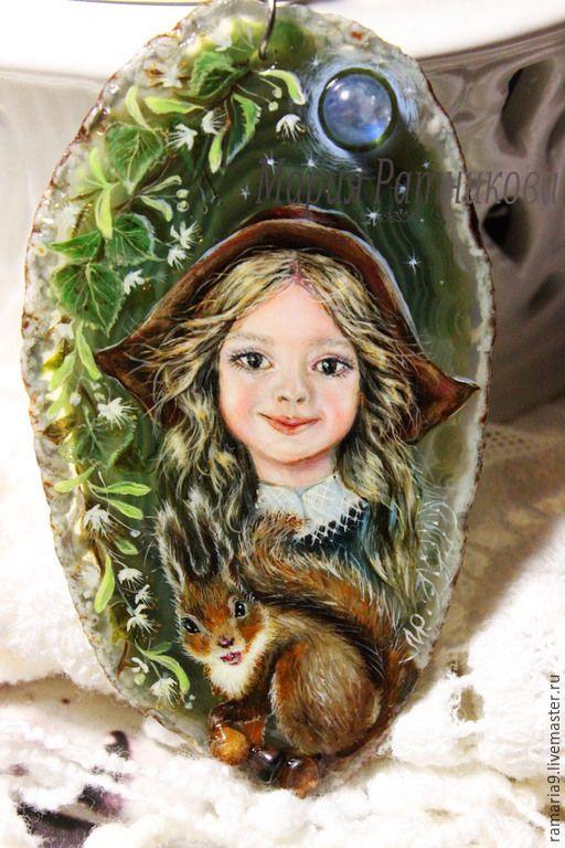"""Купить Кулон """"ЗОЛУШКА"""" лаковая миниатюра - зеленый, золушка, лес, лаковая миниатюра, мария ратникова"""