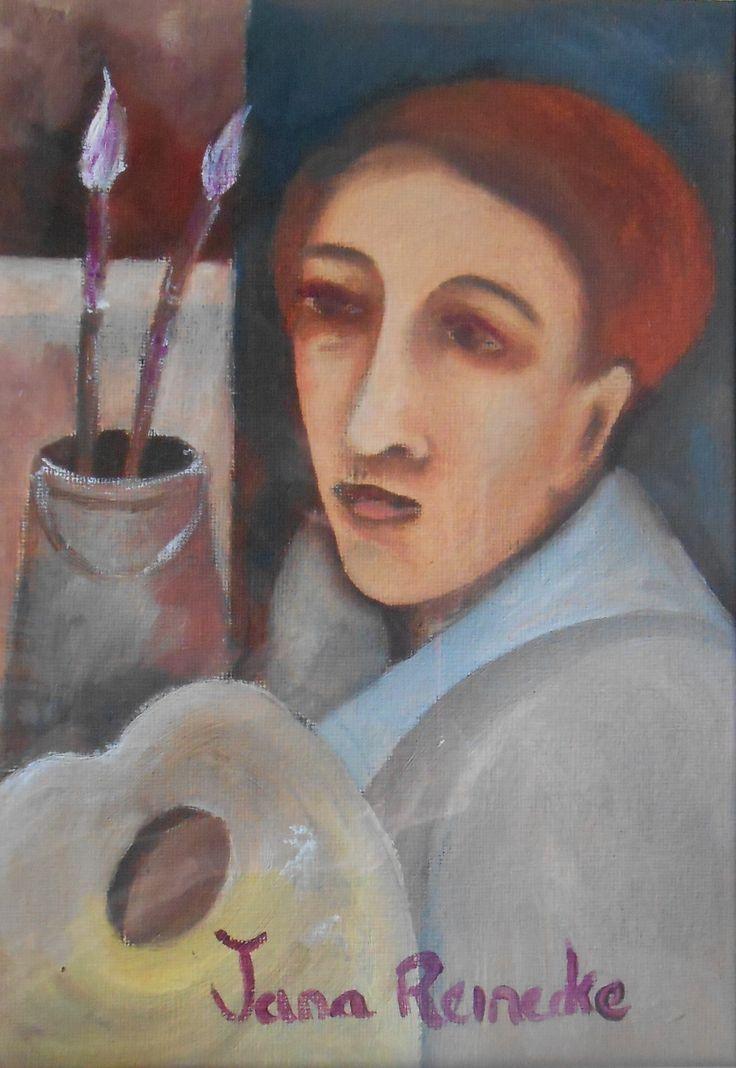 Portrait of a artist.21/29cm.oil on canvas textured paper.