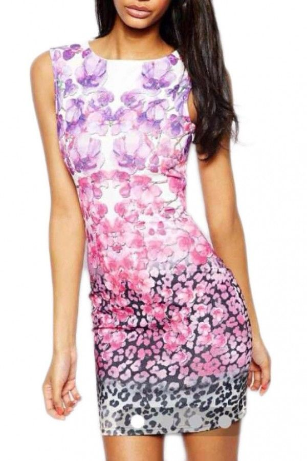 KCLOTH Ombre Floral Printed Purple Summer Dress