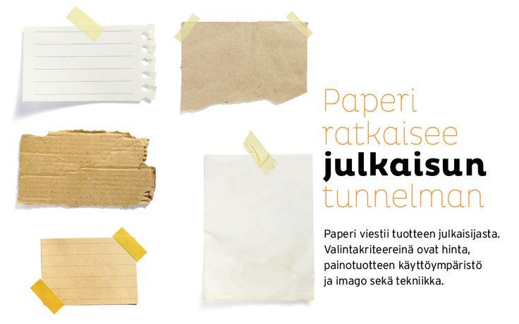 Paperi ratkaisee julkaisun tunnelman. Paperi viestii tuotteen julkaisijasta. Valintakriteereinä ovat hinta, painotuotteen käyttöympäristö ja imago sekä tekniikka.