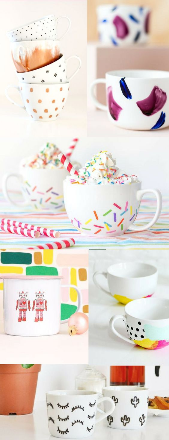 The BEST DIY mugs that are cheap & easy to make! DIY Sharpie mugs, painted mugs, and more! These would make great gift ideas filled with fun treats. Diy gift ideas, diy home decor