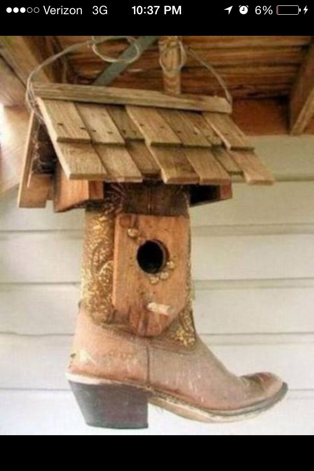 Old boot birdhouse !