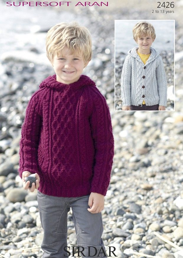 Boys Hooded Cable Sweater and Cardigan in Supersoft Aran (2426) | Aran Knitting Patterns | Knitting Patterns | Deramores