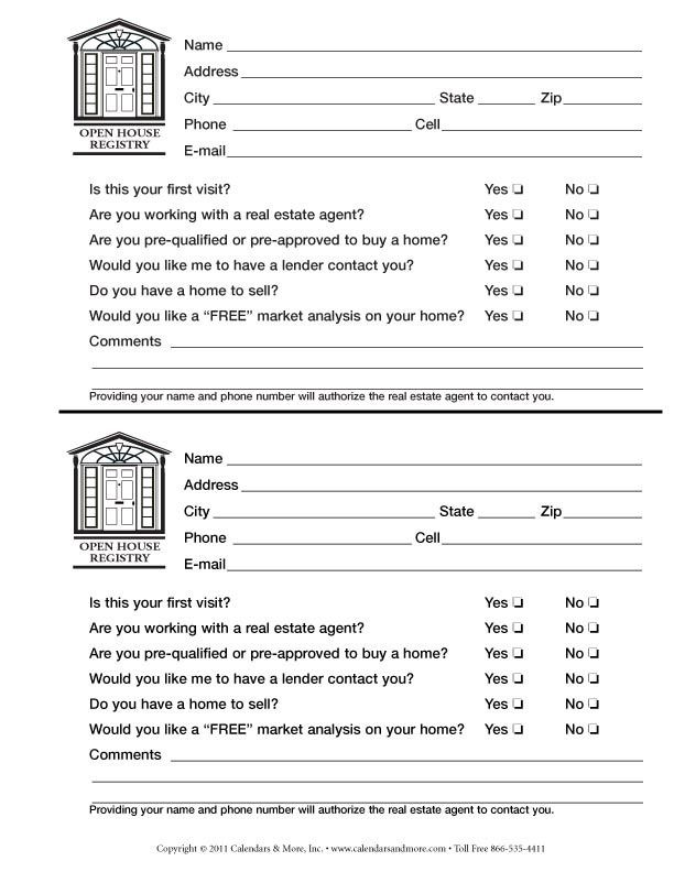 real estate open house sign in sheet - Google Search