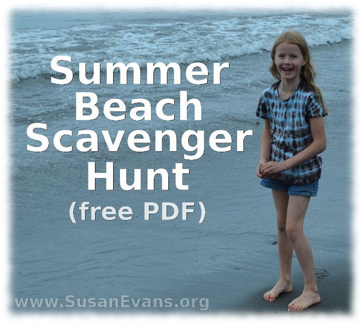 Summer Beach Scavenger Hunt (free PDF) - http://susanevans.org/blog/summer-beach-scavenger-hunt/