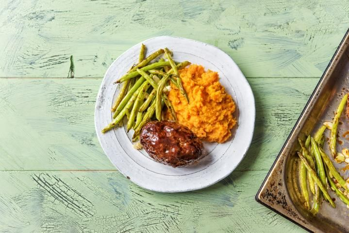 Meatloaf Balsamico with Mashed Sweet Potato and Green Beans