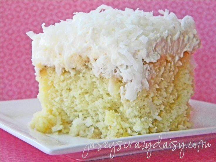 Coconut Pineapple Cake FYI: this calls for a boxed cake mix.... if making this gluten free try using the Betty Crocker Gluten Free Yellow Cake mix. You'll need 2 boxes for a round 2 layer cake.