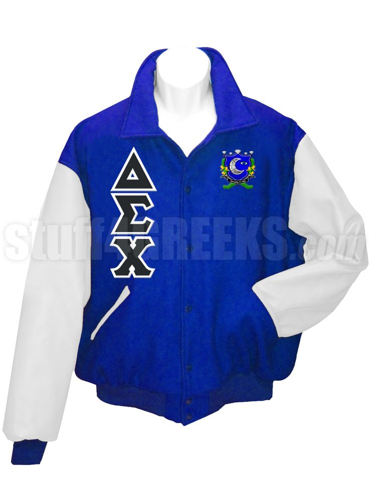 Royal blue Delta Sigma Chi Letterman Varsity Jacket with white sleeves, the Greek letters down the right, and the crest on the left breast.
