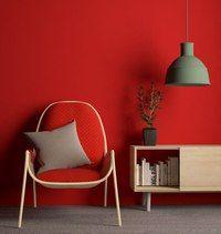 Гостиная. Красные стены. Дизайн интерьера.