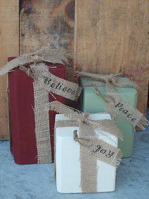 christmas craft: Christmas Crafts, Christmas Presents, Wood Blocks, Christmas Decor, Burlap Ribbon, Wooden Block, Christmas Gift, The Crafts, Front Porches