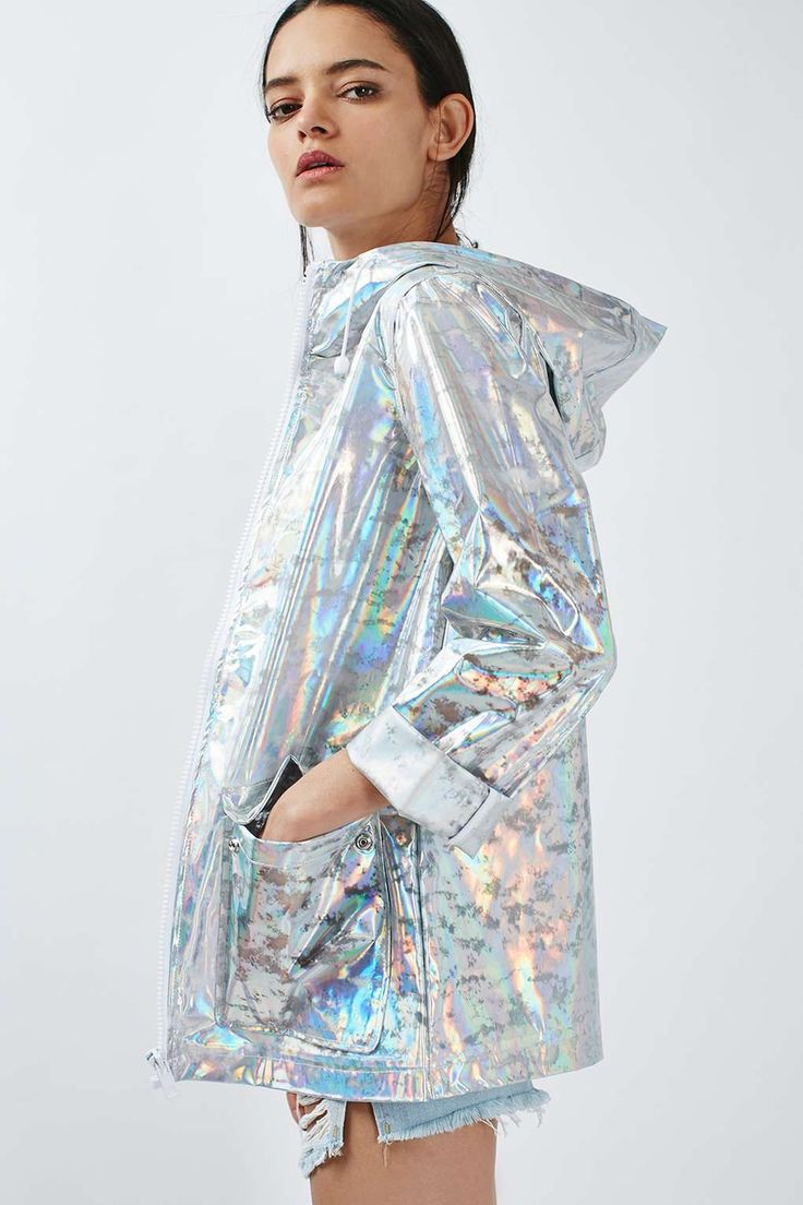 PETITE Holographic Rain Mac - Jackets & Coats - Clothing - Topshop
