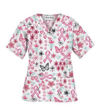 UA Celebrate Pink White Scrub Top - Style # PC62CEW #breastcancer #savethetatas #pinkribbon #uniformadvantage #nursesrock #medicalscrubs
