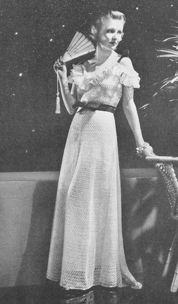 1930s Crochet New Moon Evening Gown with Ruffle Off Shoulder