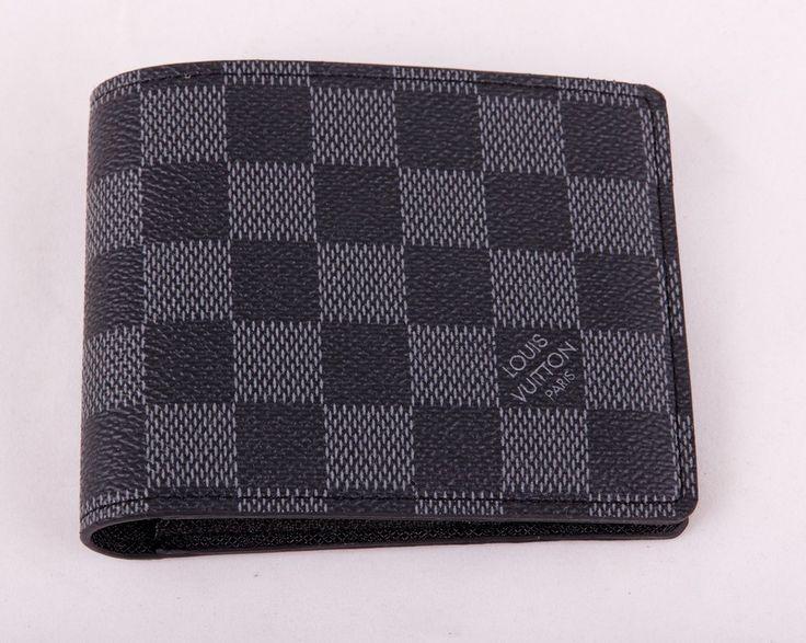 Небольшой кожаный кошелек Louis Vuitton LV в черно-серую клетку. Размер 9.5х10.5х2см #18846