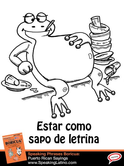 "COMO SAPO DE LETRINA: Puerto Rican Spanish Slang Expression | A funny cartoon illustration of the Puerto Rican Spanish slang expression ""como sapo de letrina."" Here is what it means and a real-life example. #PuertoRico #Idioms #Modismo via http://www.speakinglatino.com/como-sapo-de-letrina-puerto-rican-spanish-slang-expression/"