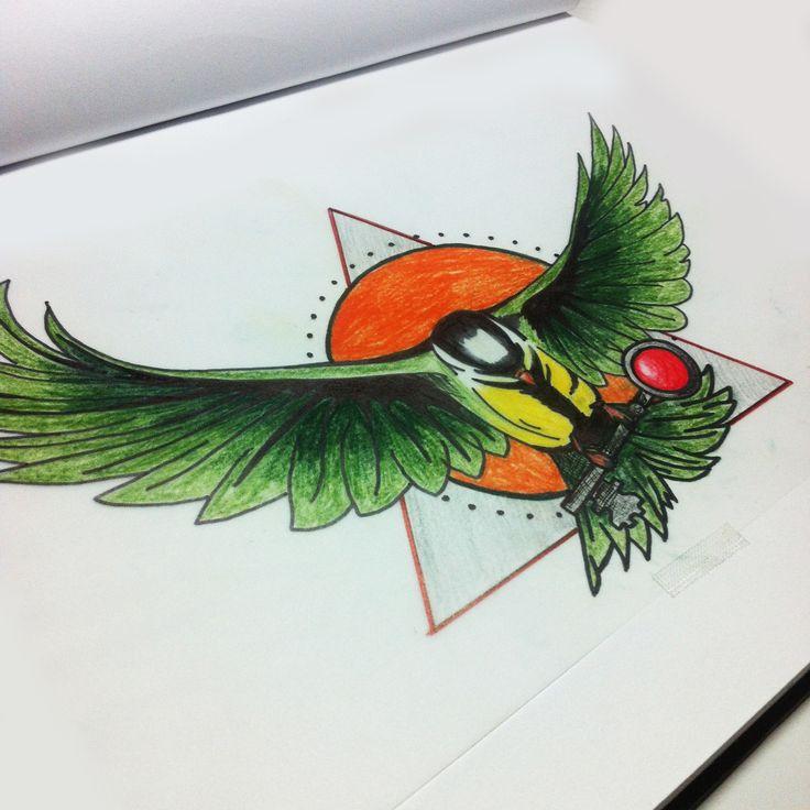blaumeise mit dem schlüssel zum herzen -  tomtit with the key to the heart - tattoo sketch new school -   disable