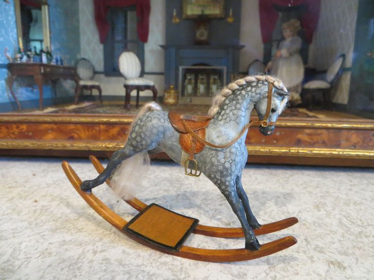 Dollhouse Miniature Artisan Amanda Skinner Hand Painted Appaloosa Rocking Horse | eBay