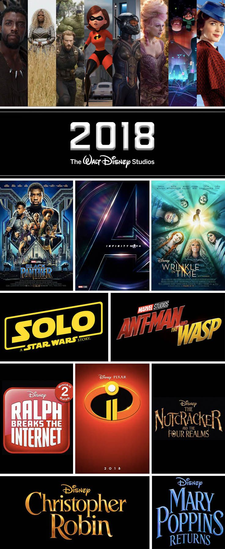 Upcoming 2018 Disney Movies Marvel LucasFilm Pixar